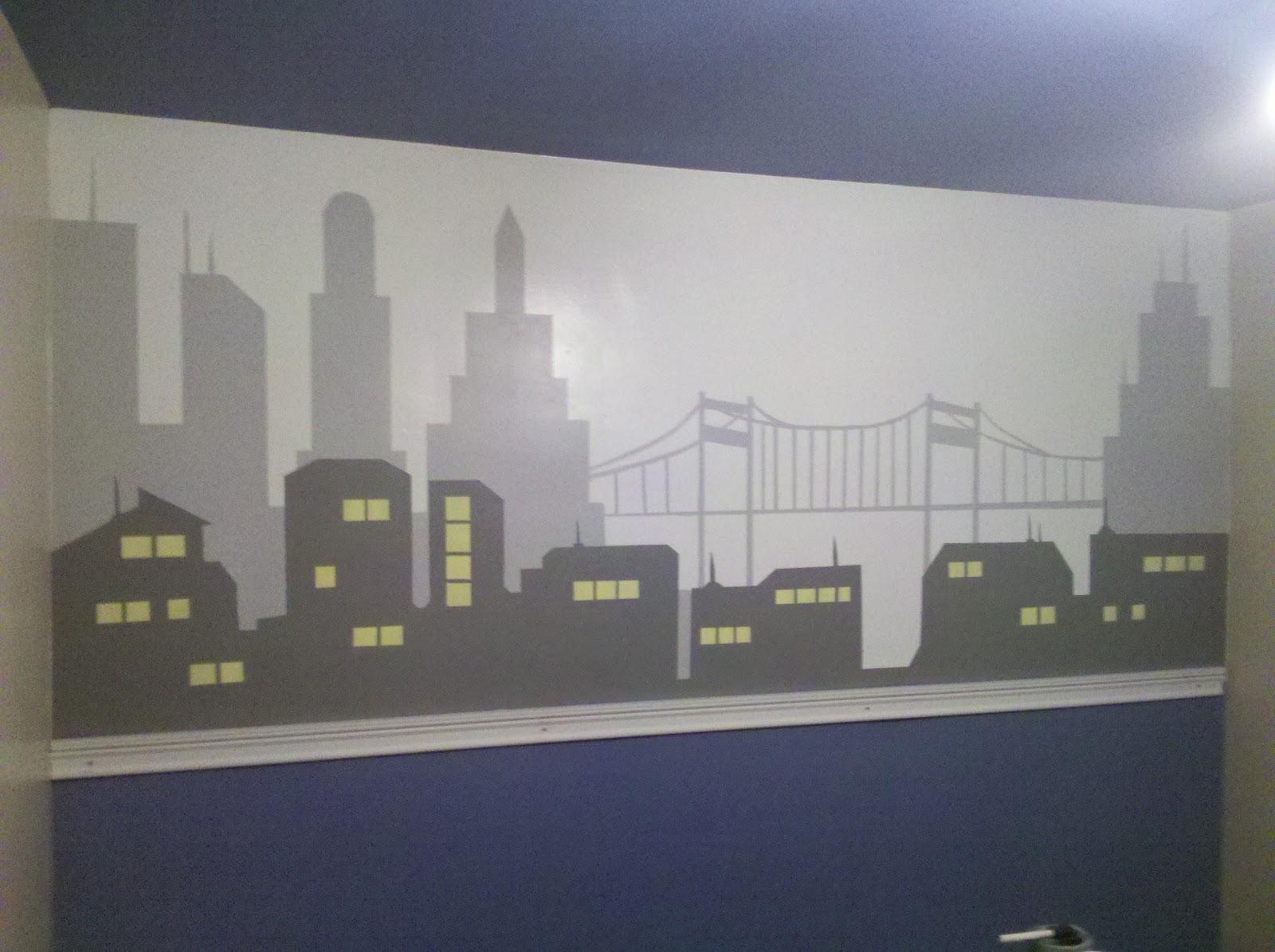 Esqueda ink batman wall for Batman bedroom wall mural