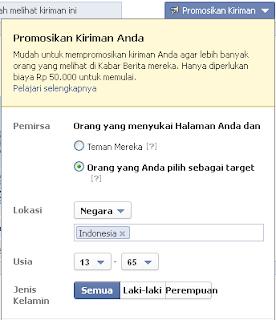 Promosikan kiriman di fb