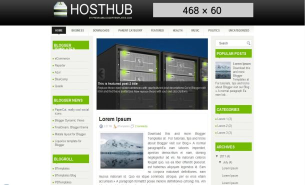 Free hosting business green blogger template fbccfo Gallery