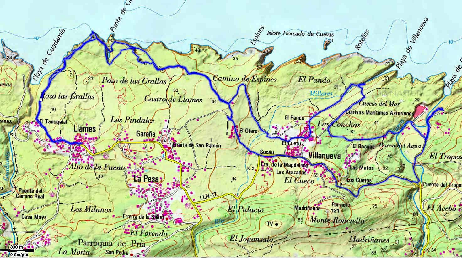 Mapa 4 - Senda Costera Bufones de Pría - Playa Cuevas del Mar - Llanes