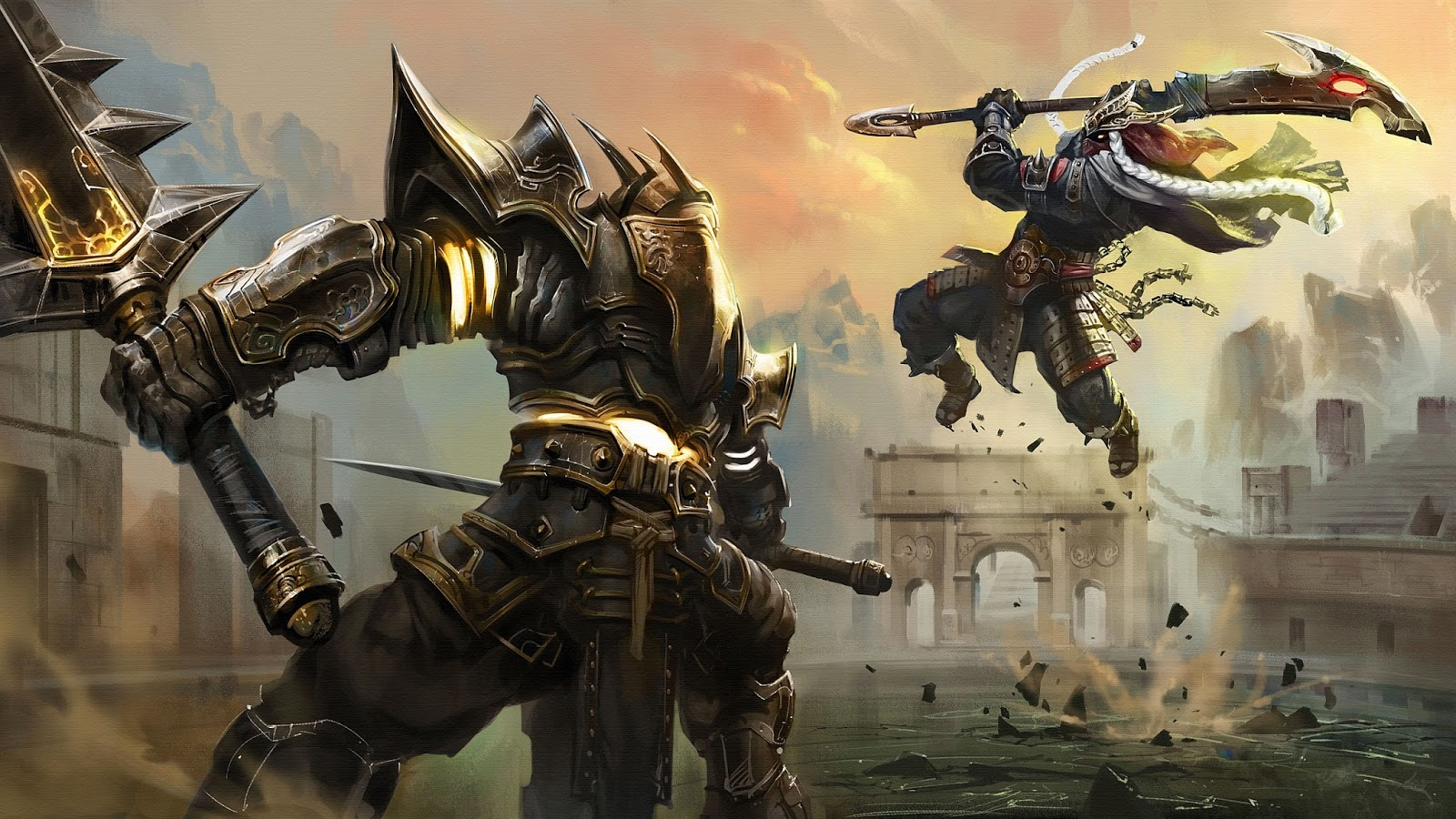 Epic Knight Warrior Fight Sword Weapon Armor Jump Fantasy HD Wallpaper A31