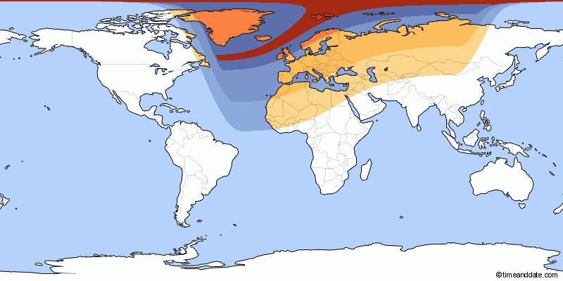 Khu vực có màu đỏ đậm nhất quan sát được Mặt Trăng che khuất tới hơn 90% bề mặt Mặt Trời trên bầu trời. Hình minh họa bởi timeanddate.com.