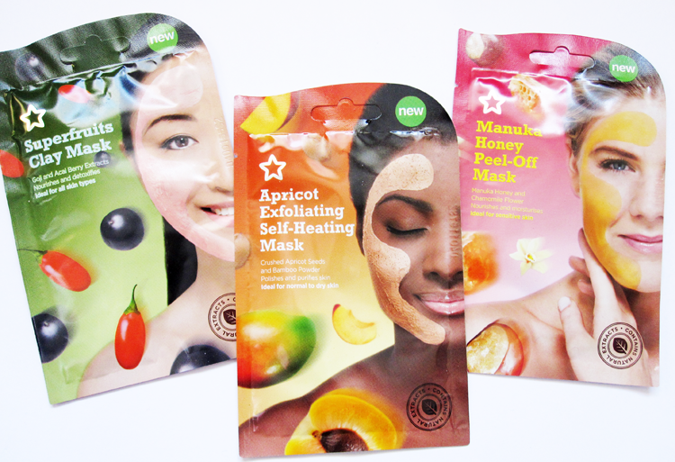 A picture of Superdrug Superfruits Clay Mask, Apricot Exfoliating Self-Heating Mask & Manuka Honey Peel-Off Mask reviews