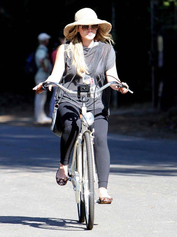 Hilary Duff  on Her Bike in Toluca Lake