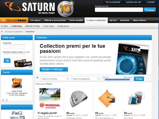 Raccolta punti Saturn: catalogo premi