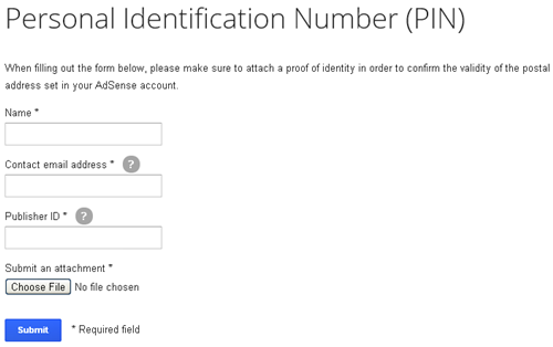 Personal Identification Number - AdSense