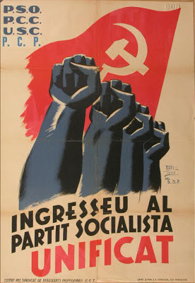 Propaganda poster from PSUC : Ingresseu al partit socialista unificat - The Clenched Fist Salute : the Nazis weren't the only ones convincing people to publicly make silly hand gestures in unison.