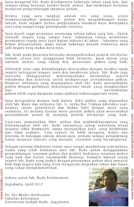 Referensi Dr. Eko Bhakti Hardiyanto , Peneliti Kehutanan UGM