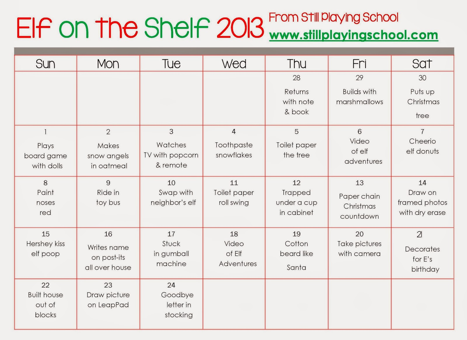Calendar Monthly Ideas : A month of elf on the shelf ideas still playing school