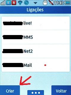 criar perfil intenet celular Samsung Corby II