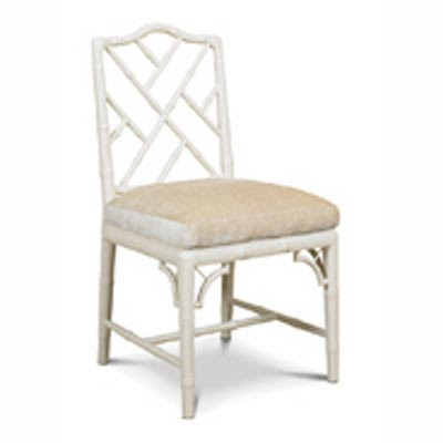 White Chinese Chippendale Chair High/Low