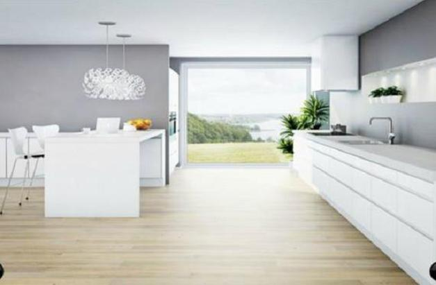 Cocinas de aspecto moderno con madera blanca for Suelos modernos