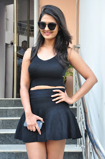 Neha Deshpande in Spicy Black Mini Skirt and Top at Pochampally Ikat Movie Promotion