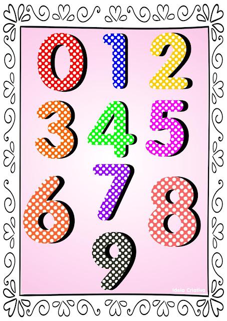 Numerais de Poá colorido com bordas para Baixar em PDF