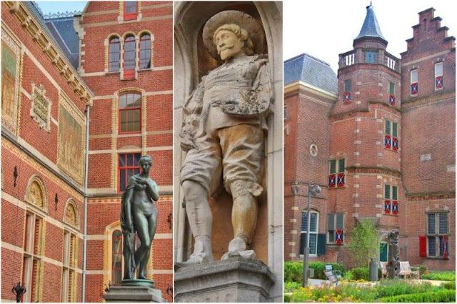 Esculturas en el exterior y fachada del Rijksmuseum en Amsterdam - Escultura de Joan Miro Estatua en los jardines del Rijksmuseum en Amsterdam