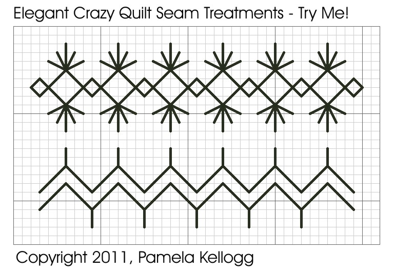 Crazy Quilting Stitches Patterns : Kitty And Me Designs: Elegant Crazyquilt Seam Treatments - Try Me Patterns