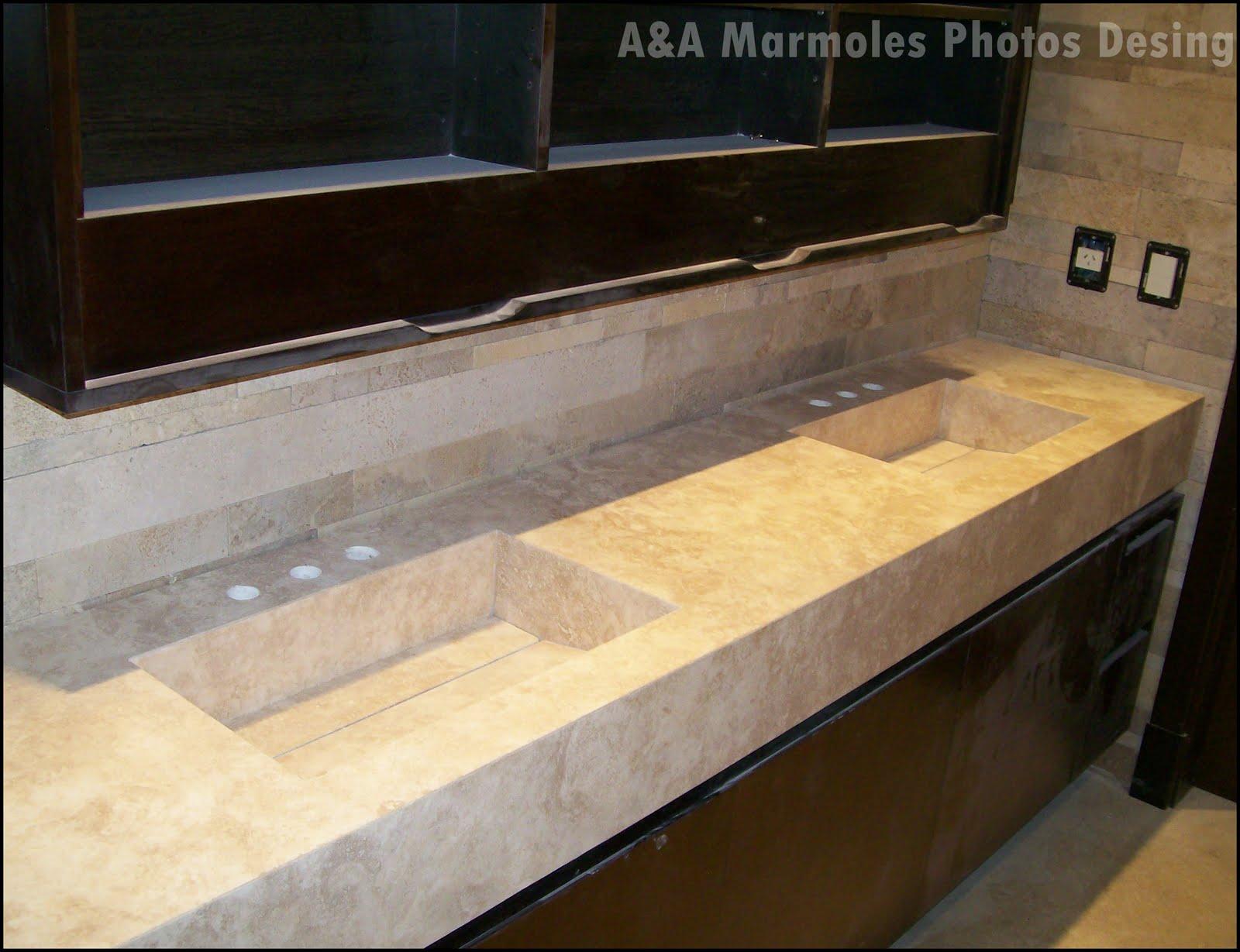 Aranda marmoles mesada travertino for Banos con marmol travertino
