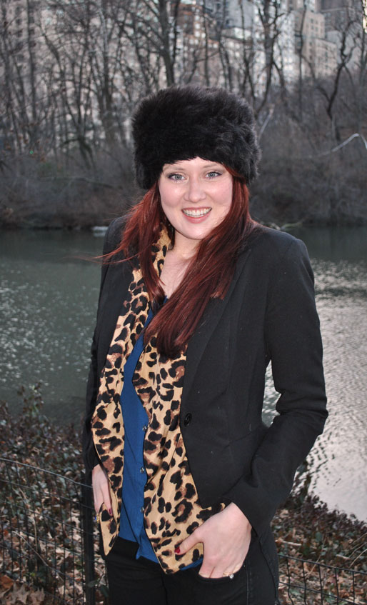 a style of your own blog, mollie booth parks, central park. outfits, fur hat, Zara jeans, Nine West boots, TJ Maxx leopard top, fashion blog