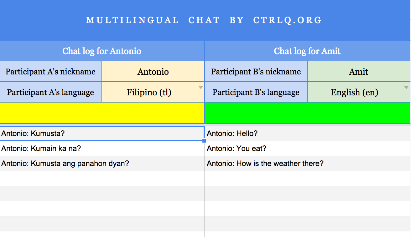 Chat in different languages using this Multilingual Chat Google Sheets