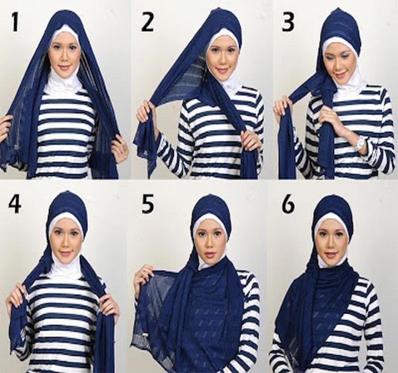 Tutorial dan gambar cara memakai jilbab hijab modern gaul panjang