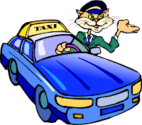 Cat taxi driver cartoon clip art