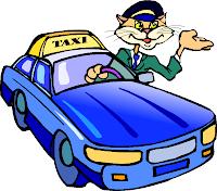 Cat taxi driver cartoon clip art