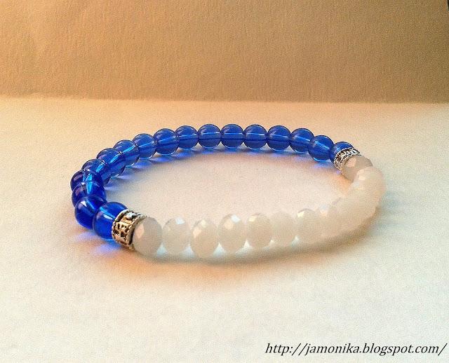 Biało niebieska bransoletka