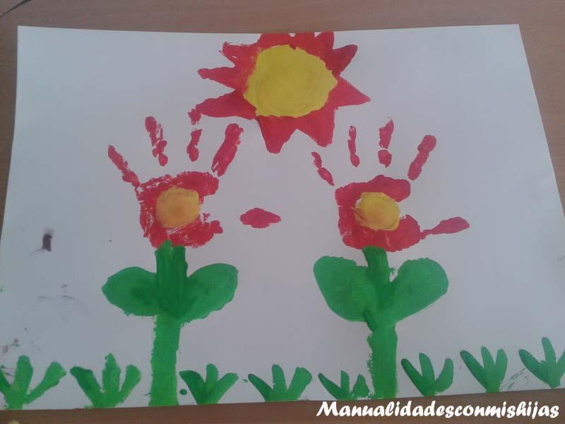 Manualidades con mis hijas retofacilisimo flores con - Ninos pintando con las manos ...