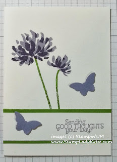 Card made with Stampin'UP!'s Too Kind stamp set and Bitty Butterfly Punch