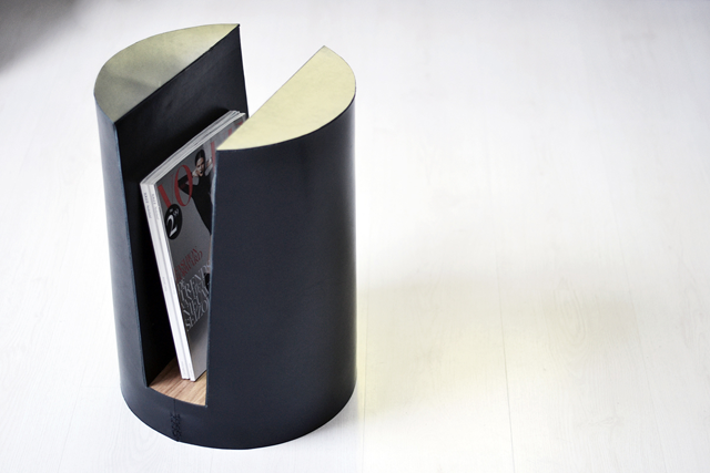 Furniture, design, interior architecture, uhasselt, leather, wood, oak, magazine holder