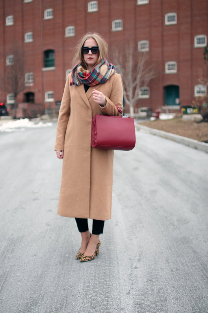 camel longline duster coat, leopard pointy toe pumps, plaid target scarf, boston blogger style, boston fashion blogger, fashion blogger style, forever 21 camel duster coat