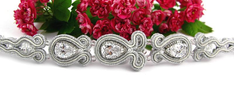 Bransoletka ślubna sutasz ivory z kryształami Swarovski