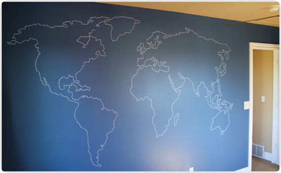 Mad for mid century easy world map mural for a travel nursery for Easy wall mural