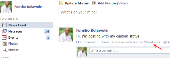 How to post custom via status on facebook:facebook lets you many updates your status from a number of platform