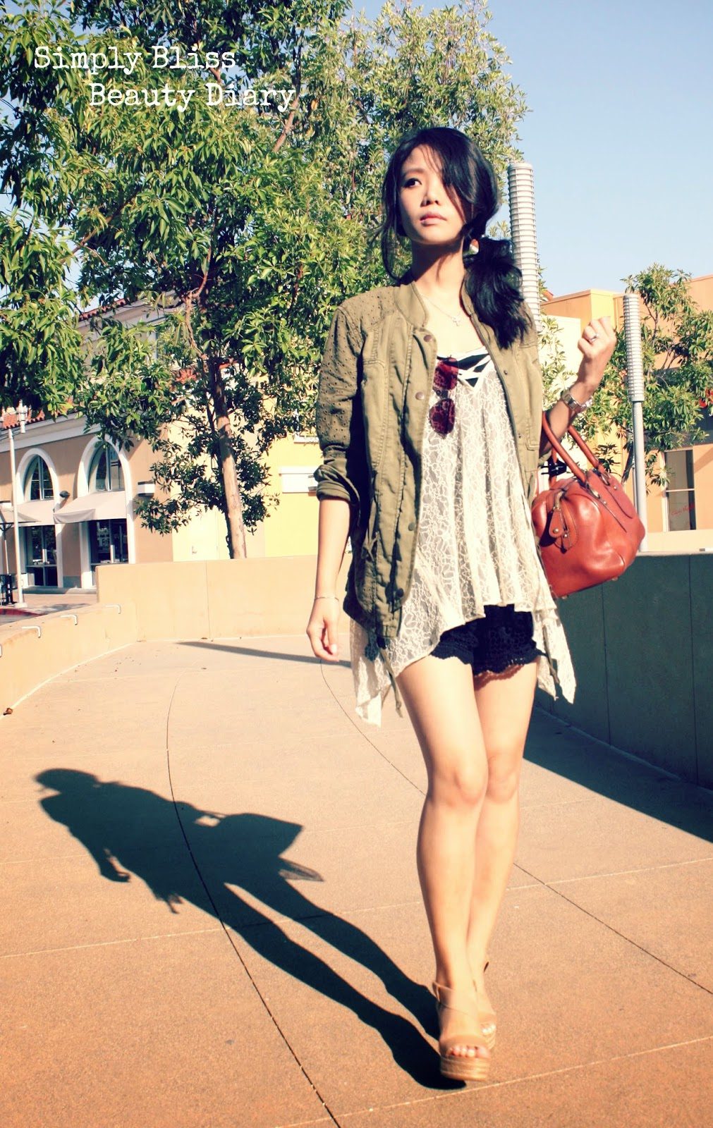 anthropologie military jacket with urban outfitter lace cami and charles david nude wedges