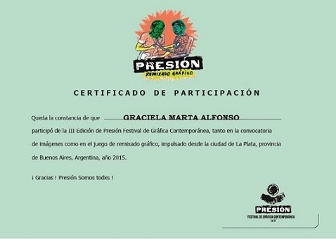 """Certificado de Participación en Presión III Festival de Gráfica Contemporánea"""