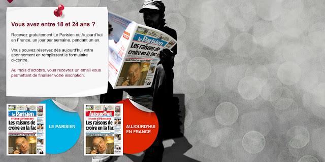Abonnement gratuit au journal Le Parisien ou Aujourd'hui