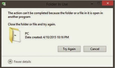 The action cant be completed because the folder or a file in it is open in another program solutions