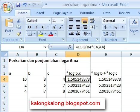 excel logaritm