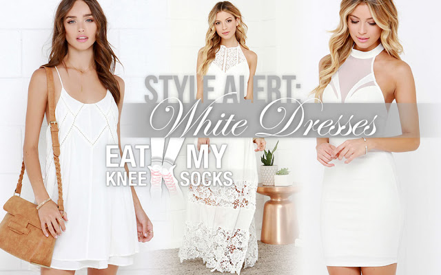 White dresses are hot this season, so check out this curated collection of white sundresses, maxi dresses, two-piece sets, and evening dresses from LuLu's, brought to you by Eat My Knee Socks/Mimchikimchi.