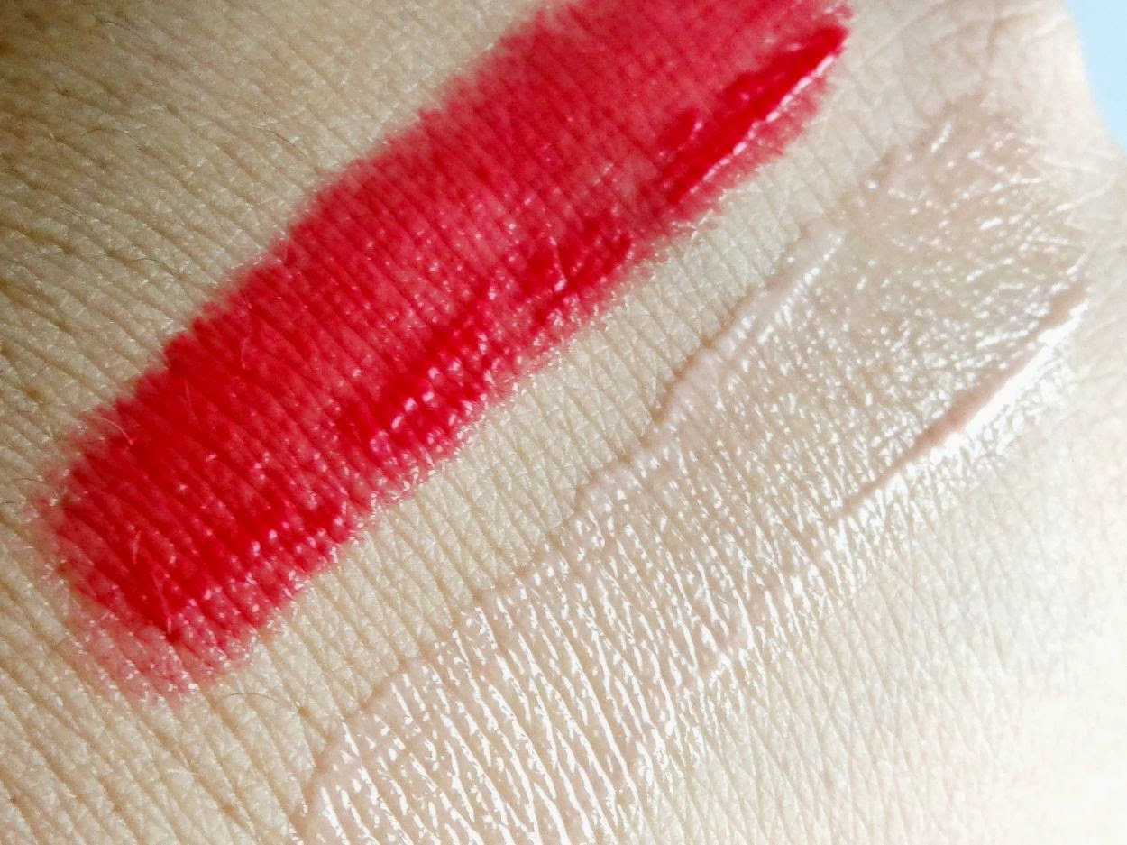 swatches of annabelle lipsie in cherry and coco vanilla