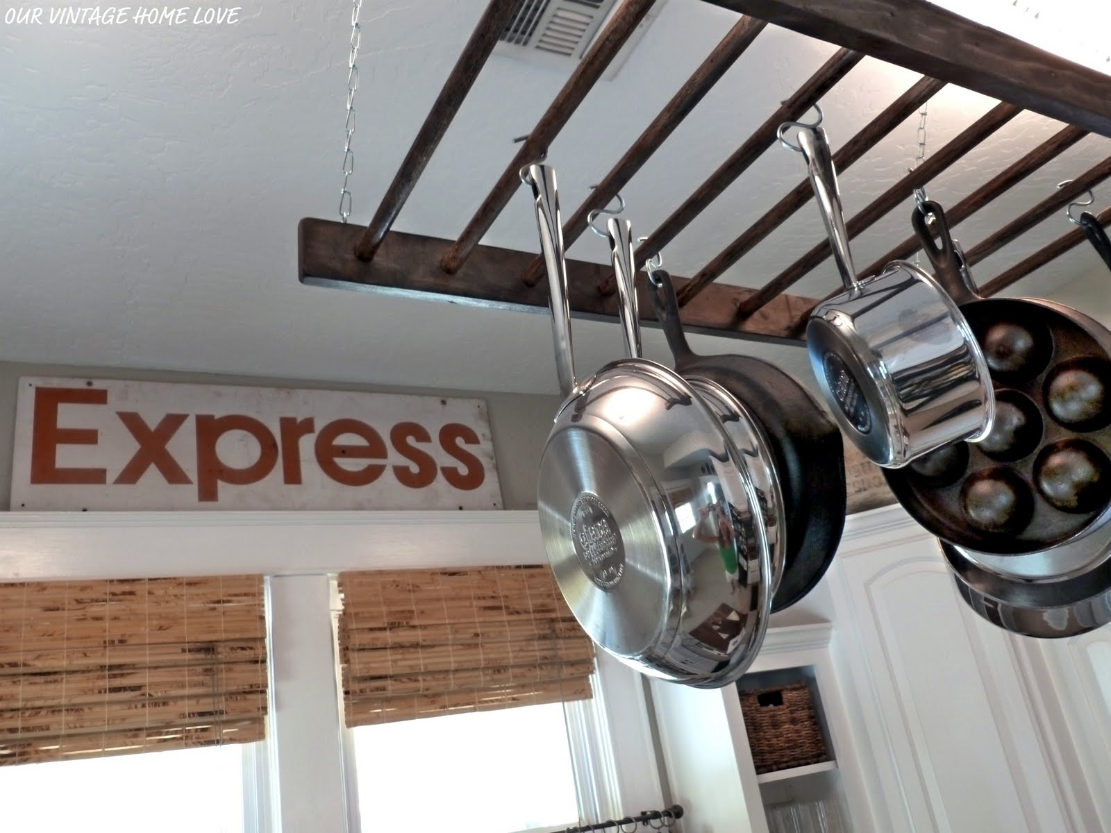 vintage home love: Express Sign and a Pot Rack