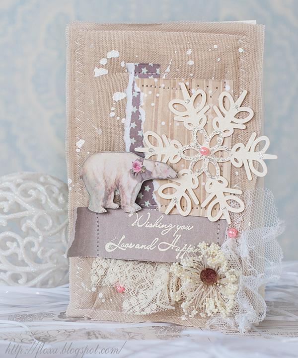 мягкая открытка, открытка тильда, открытка сказочная, открытка с медведем новогодняя