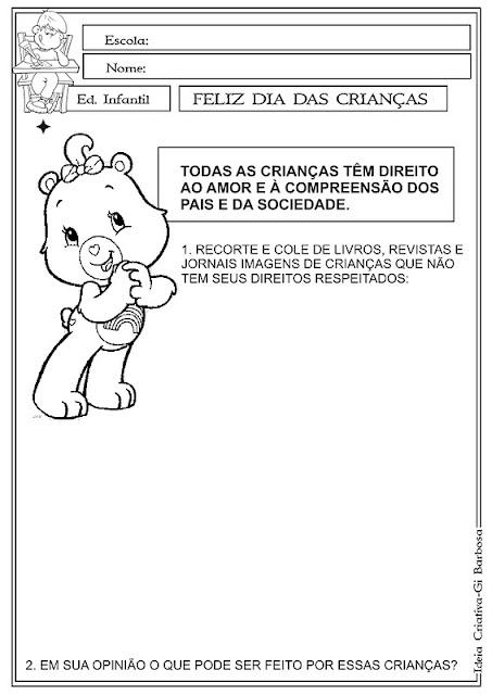 Atividades Direitos da Criança Com Ursinhos Carinhosos