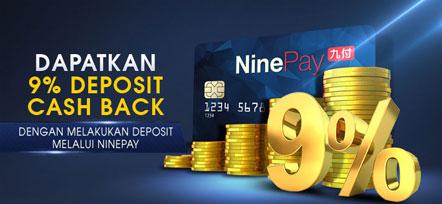 Dapatkan Cash Back M88 Dengan Deposit Melalui NINE PAY