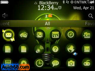 Tema Blackberry Butterfly Neon OS 7
