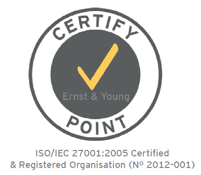 ISO 27001 certified by Ernst & Young CertifyPoint