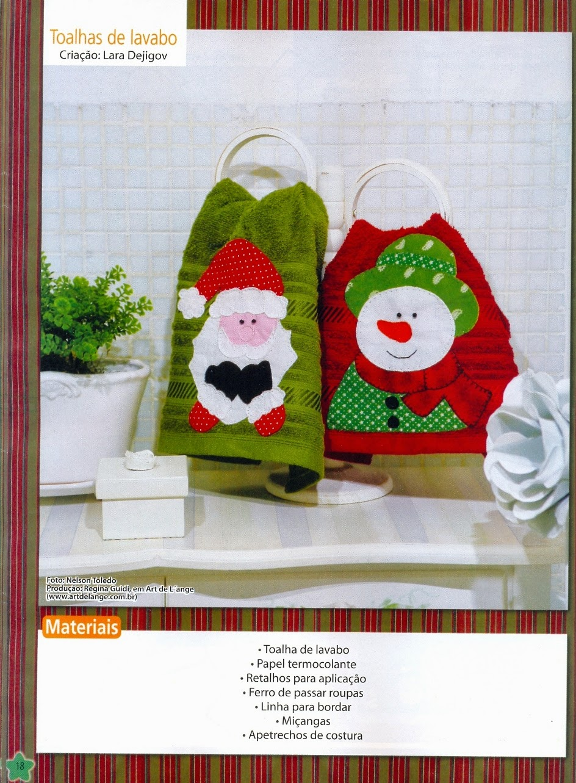 Moldes toalha natalina com patch aplique