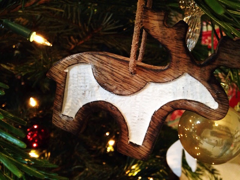 Wooden reindeer nordic christmas decoration