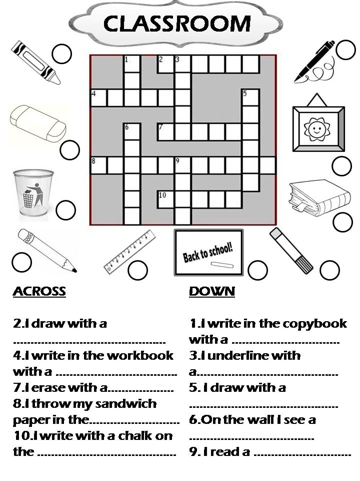 Enjoy Teaching English CLASSROOM OBJECTS CROSSWORD – Classroom Objects in Spanish Worksheet